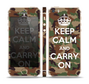 The Keep Calm & Carry On Camouflage Skin Set for the Apple iPhone 5s