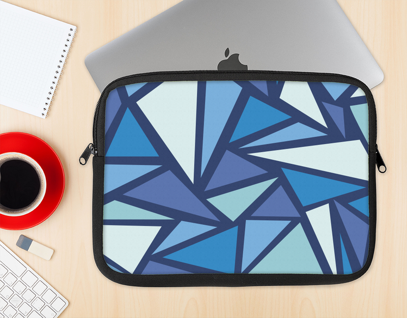 The Large Vector Shards of Blue Ink-Fuzed NeoPrene MacBook Laptop Sleeve