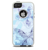 The Light Blue Butterfly Outline Skin For The iPhone 5-5s Otterbox Commuter Case