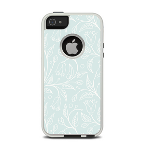 3c69e642234 The Light Blue Floral Branches Apple iPhone 5-5s Otterbox Commuter Case  Skin Set