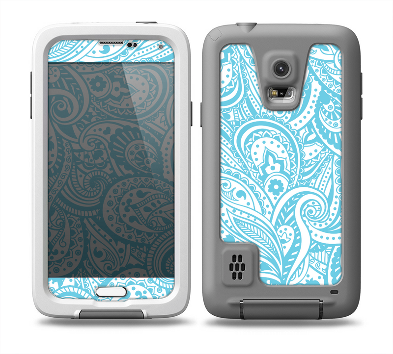 The Light Blue Paisley Floral Pattern V3 Skin for the Samsung Galaxy S5 frē LifeProof Case