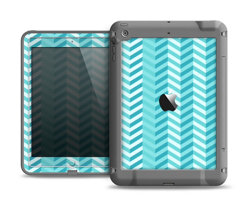 The Light Blue Thin Lined Zigzag Pattern Apple iPad Air LifeProof Fre Case Skin Set