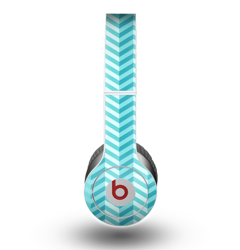 The Light Blue Thin Lined Zigzag Pattern Skin for the Beats by Dre Original Solo-Solo HD Headphones