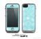 The Light Blue & White Swirls V3 Skin for the Apple iPhone 5c LifeProof Case