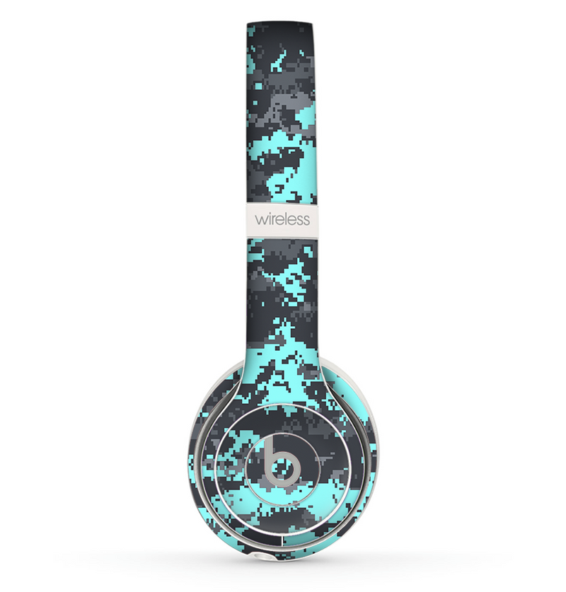 The Light Blue and Gray Digital Camouflage Skin Set for the Beats by Dre Solo 2 Wireless Headphones