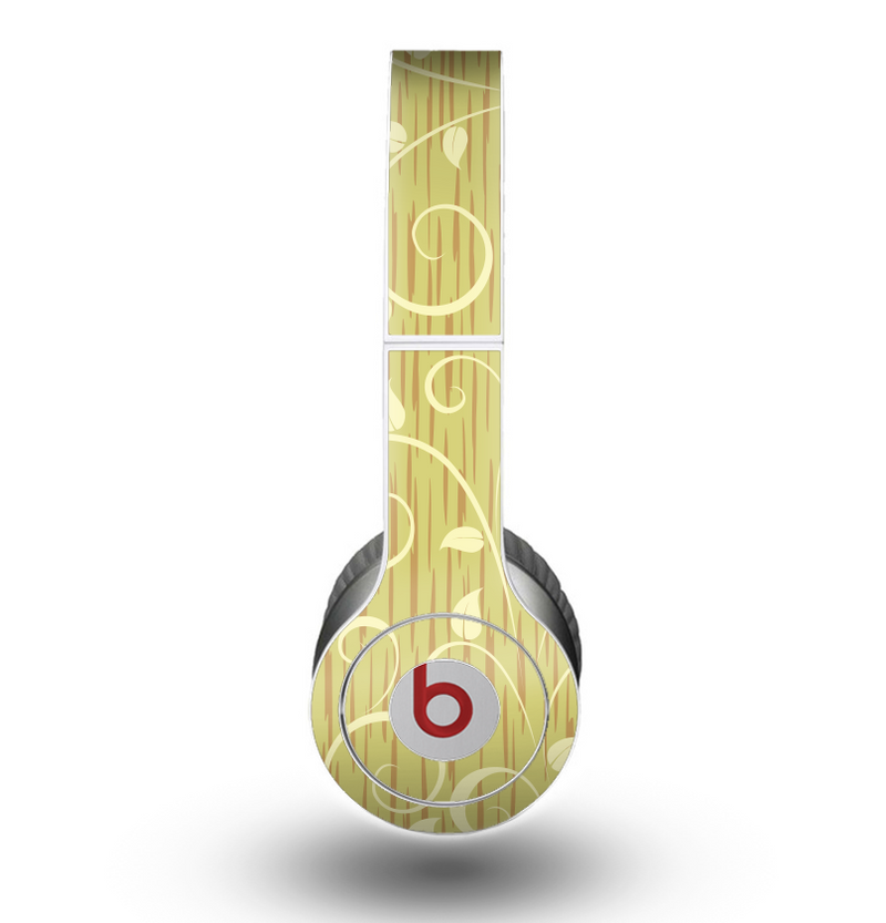 The Light Green Curley Vines Skin for the Beats by Dre Original Solo-Solo HD Headphones