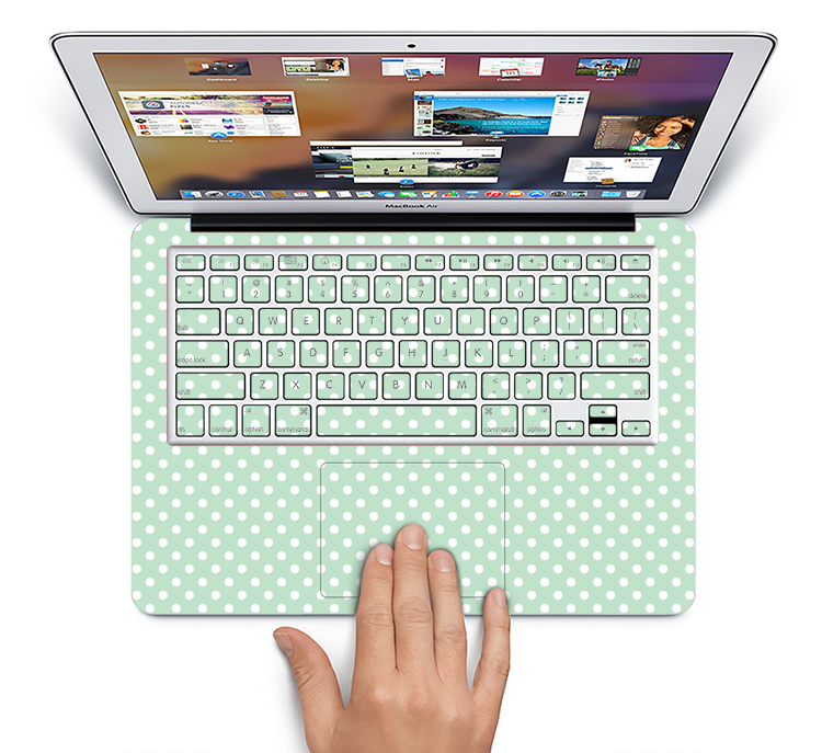 "The Light Green with White Polkadots Skin Set for the Apple MacBook Pro 15"" with Retina Display"