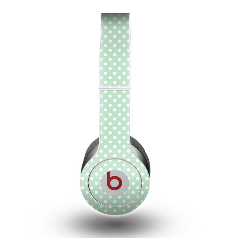The Light Green with White Polkadots Skin for the Beats by Dre Original Solo-Solo HD Headphones