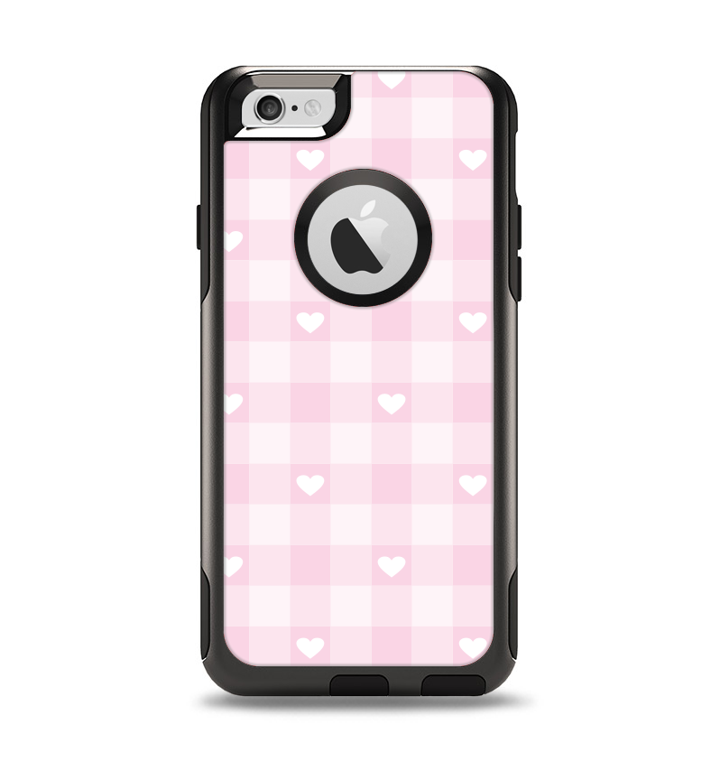The Light Pink Heart Plaid Apple iPhone 6 Otterbox Commuter Case Skin Set