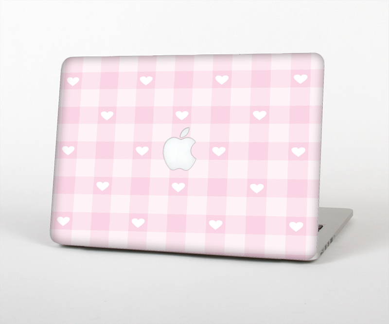 "The Light Pink Heart Plaid Skin Set for the Apple MacBook Pro 15"" with Retina Display"