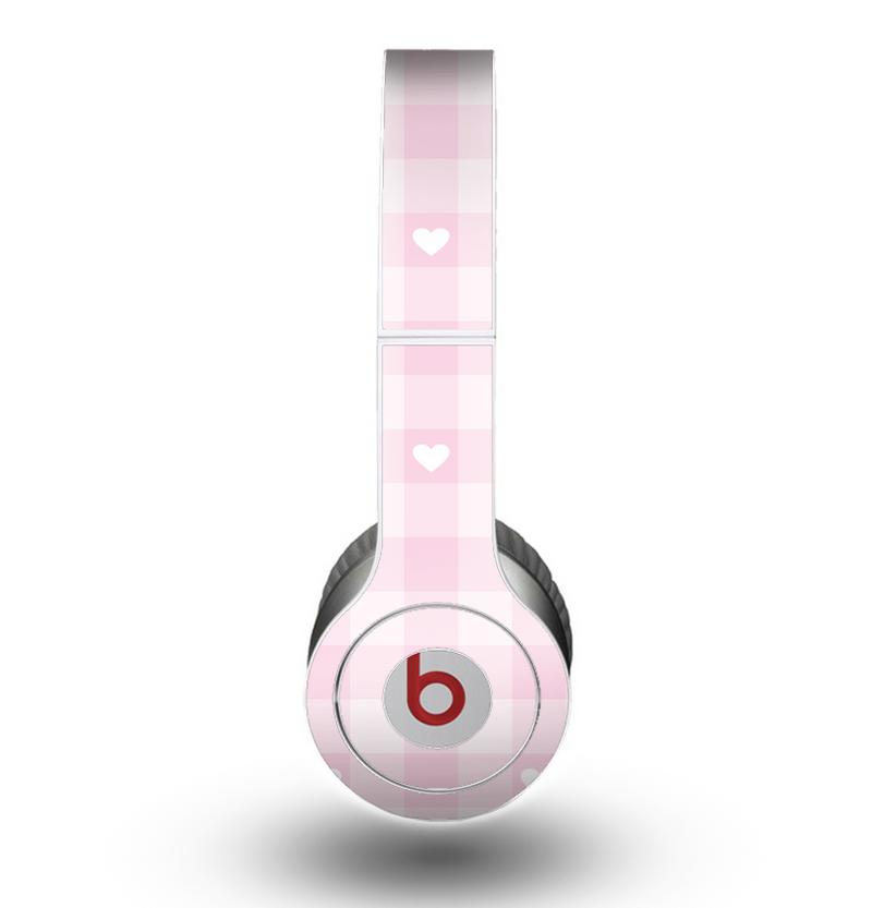 The Light Pink Heart Plaid Skin for the Beats by Dre Original Solo-Solo HD Headphones