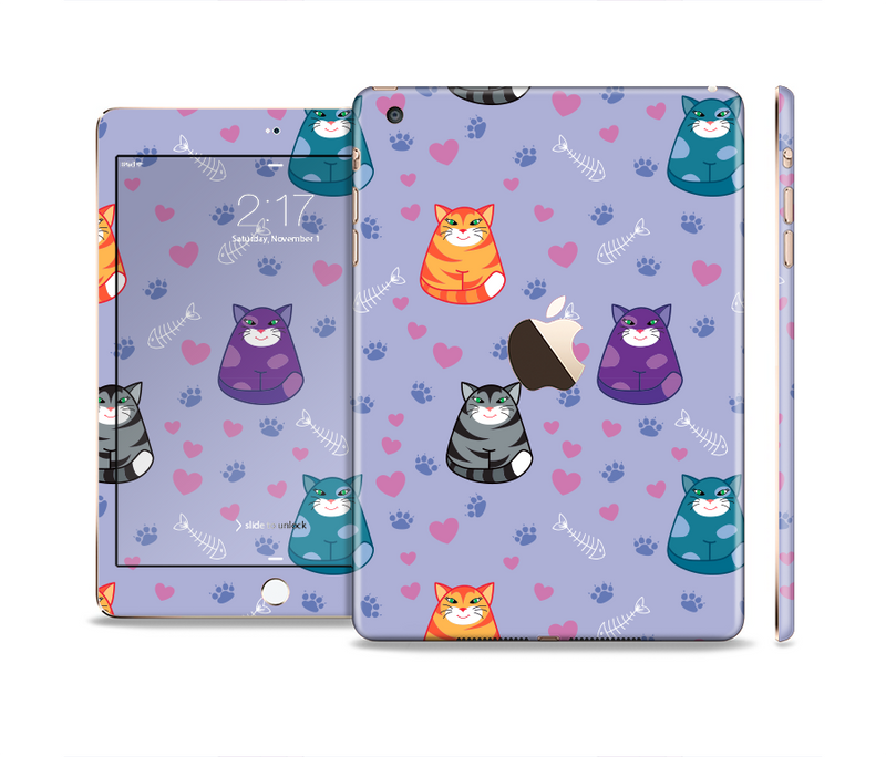 The Light Purple Fat Cats Full Body Skin Set for the Apple iPad Mini 3