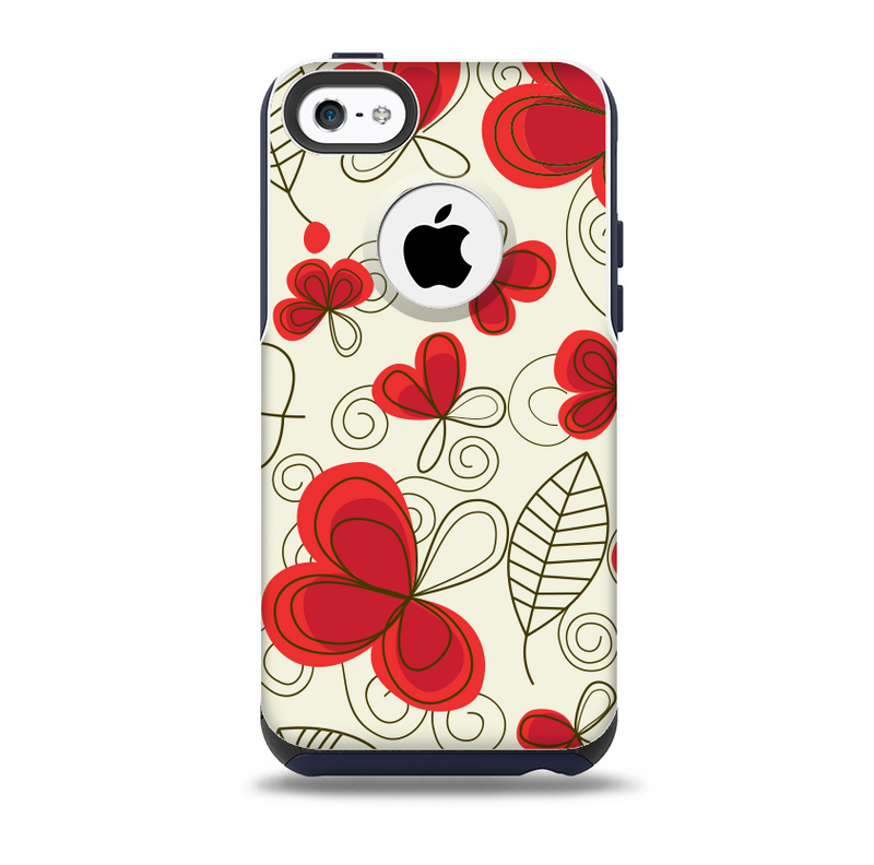 The Light Tan With Red Accented Flower Petals Skin for the iPhone 5c OtterBox Commuter Case