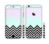 The Light Teal & Purple Sharp Black Chevron Sectioned Skin Series for the Apple iPhone 6s Plus