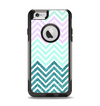 The Light Teal & Purple Sharp Glitter Print Chevron Apple iPhone 6 Otterbox Commuter Case Skin Set
