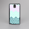 The Light Teal & Purple Sharp Glitter Print Chevron Skin-Sert Case for the Samsung Galaxy Note 3