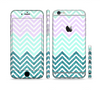 The Light Teal & Purple Sharp Glitter Print Chevron Sectioned Skin Series for the Apple iPhone 6s Plus