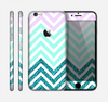 The Light Teal & Purple Sharp Glitter Print Chevron Skin for the Apple iPhone 6