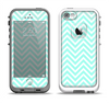 The Light Teal & White Sharp Chevron Apple iPhone 5-5s LifeProof Fre Case Skin Set