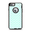 The Light Teal & White Sharp Chevron Apple iPhone 6 Otterbox Defender Case Skin Set