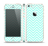 The Light Teal & White Sharp Chevron Skin Set for the Apple iPhone 5s