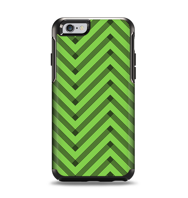 The Lime Green Black Sketch Chevron Apple iPhone 6 Otterbox Symmetry Case Skin Set