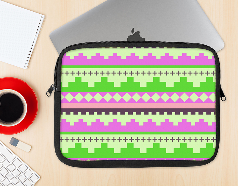 The Lime Green & Pink Tribal Ethic Geometric Pattern Ink-Fuzed NeoPrene MacBook Laptop Sleeve