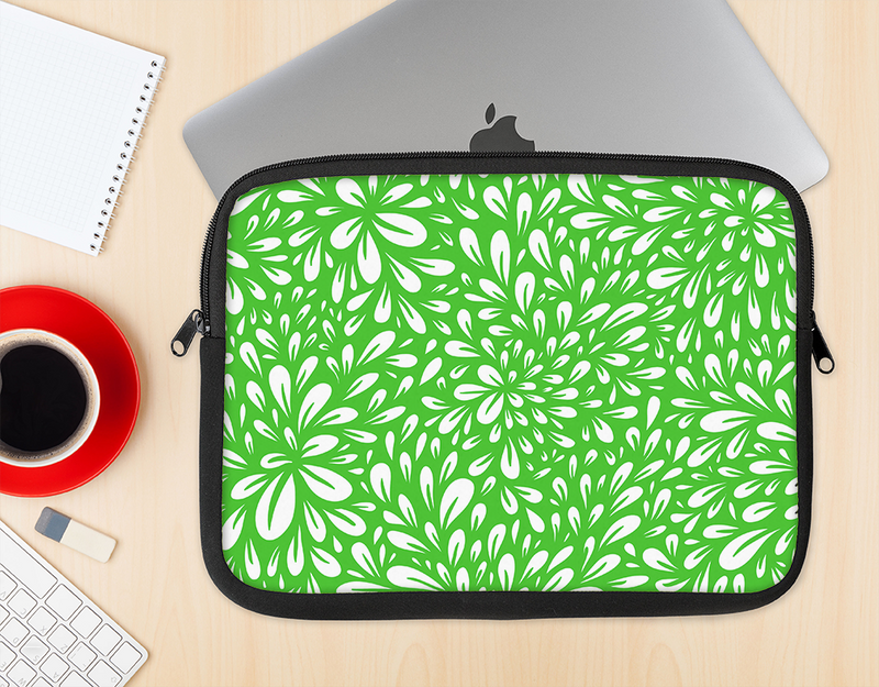 The Lime Green & White Floral Sprout Ink-Fuzed NeoPrene MacBook Laptop Sleeve