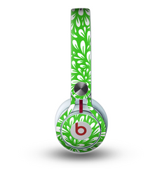 The Lime Green White Floral Sprout Skin For The Beats By Dre Mixr