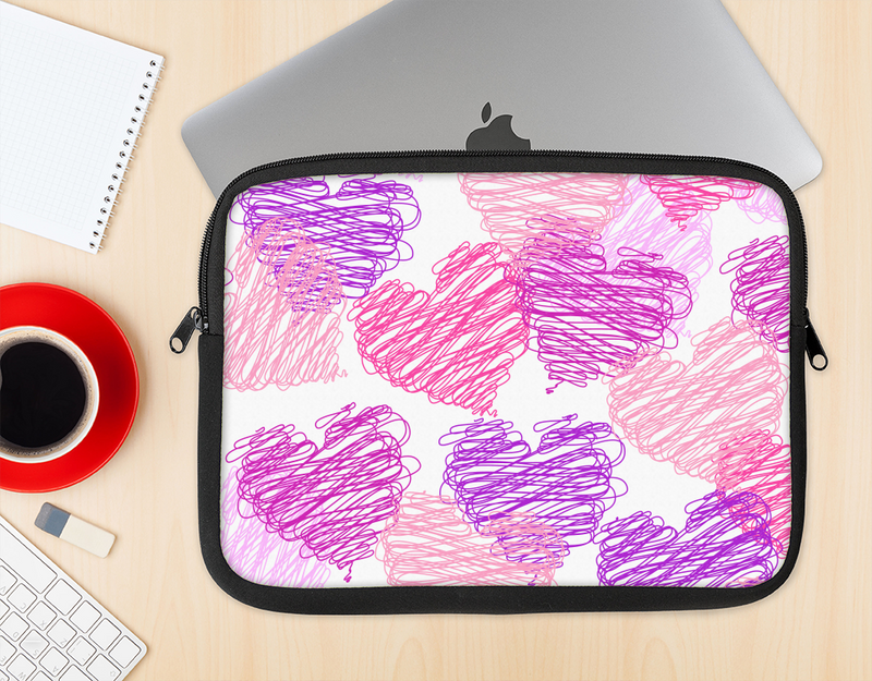 The Loopy Pink and Purple Hearts Ink-Fuzed NeoPrene MacBook Laptop Sleeve