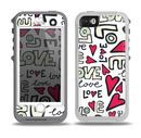 The Love and Hearts Doodle Pattern Skin for the iPhone 5-5s OtterBox Preserver WaterProof Case