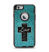 The Love is Patient Cross on Teal Glitter Print Apple iPhone 6 Otterbox Defender Case Skin Set