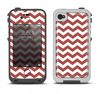 The Maroon & White Chevron Pattern Apple iPhone 4-4s LifeProof Fre Case Skin Set