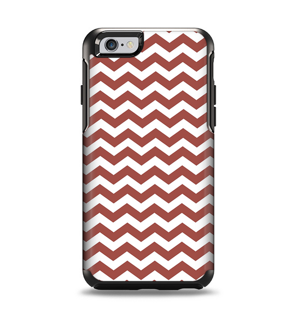 The Maroon & White Chevron Pattern Apple iPhone 6 Otterbox Symmetry Case Skin Set
