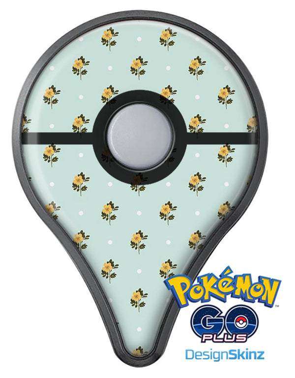 The Micro Daisy and Mint Polka Dot Pattern Pokémon GO Plus Vinyl Protective Decal Skin Kit