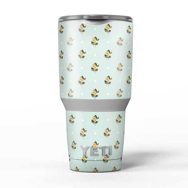 The_Micro_Daisy_and_Mint_Polka_Dot_Pattern_-_Yeti_Rambler_Skin_Kit_-_30oz_-_V5.jpg