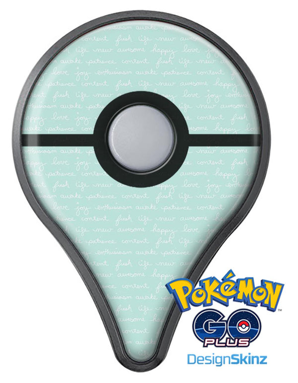The Mint Happy, Love, Joy Teal Pattern Pokémon GO Plus Vinyl Protective Decal Skin Kit
