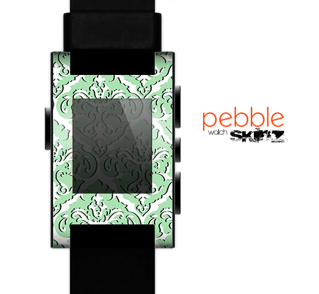 The Mint & White Delicate Pattern Skin for the Pebble SmartWatch