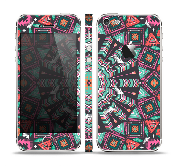 The Mirrored Coral and Colored Vector Aztec Pattern Skin Set for the Apple iPhone 5