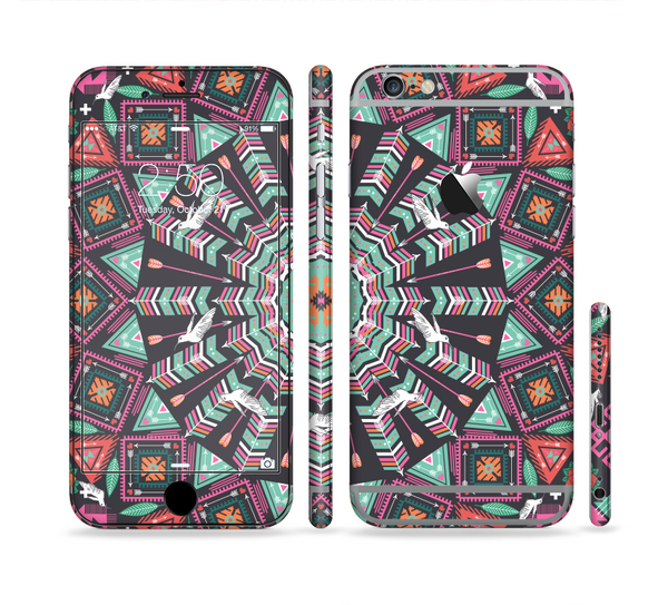 The Mirrored Coral and Colored Vector Aztec Pattern Sectioned Skin Series for the Apple iPhone 6 Plus