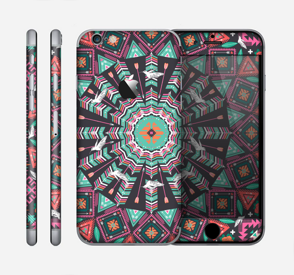The Mirrored Coral and Colored Vector Aztec Pattern Skin for the Apple iPhone 6