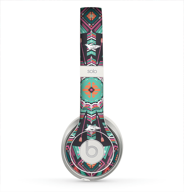 The Mirrored Coral and Colored Vector Aztec Pattern Skin for the Beats by Dre Solo 2 Headphones