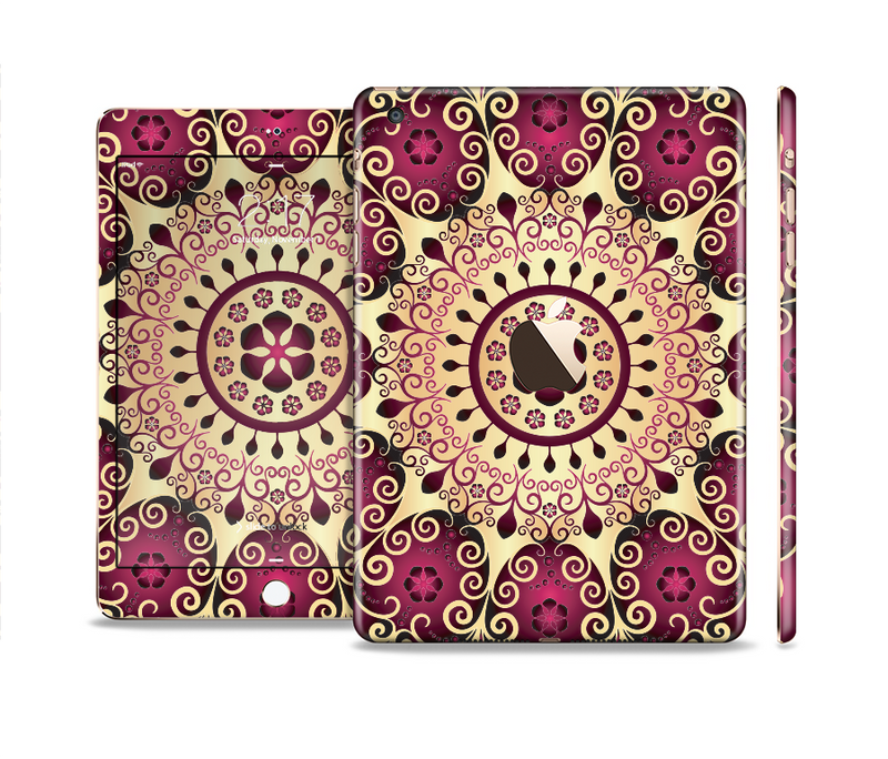 The Mirrored Gold & Purple Elegance Full Body Skin Set for the Apple iPad Mini 3