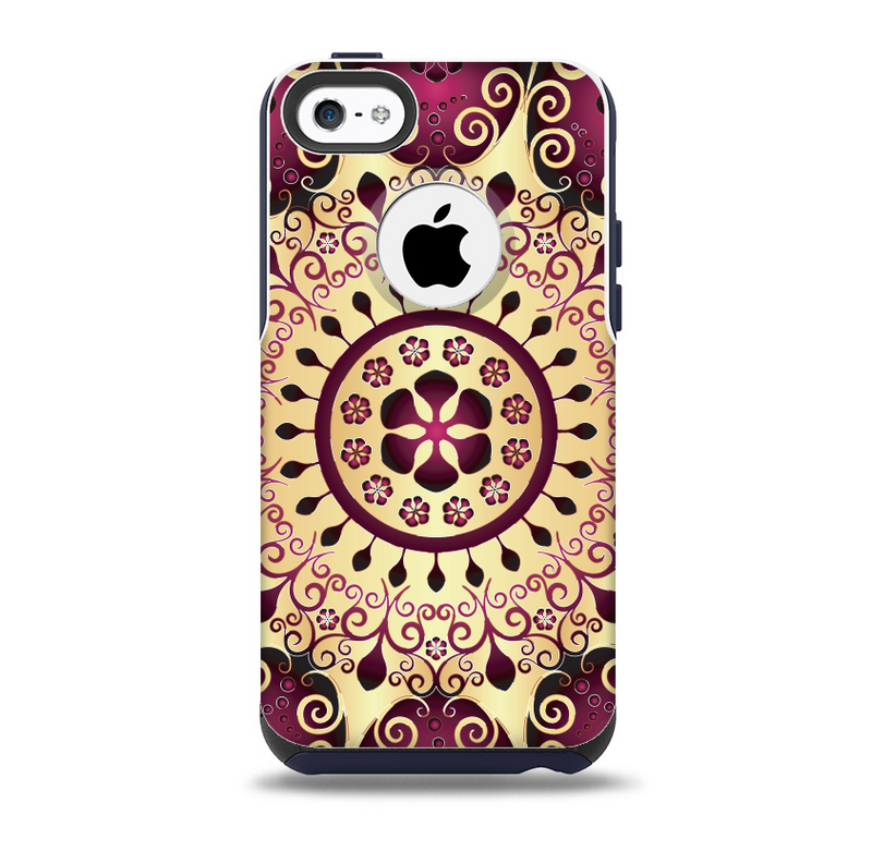 The Mirrored Gold & Purple Elegance Skin for the iPhone 5c OtterBox Commuter Case