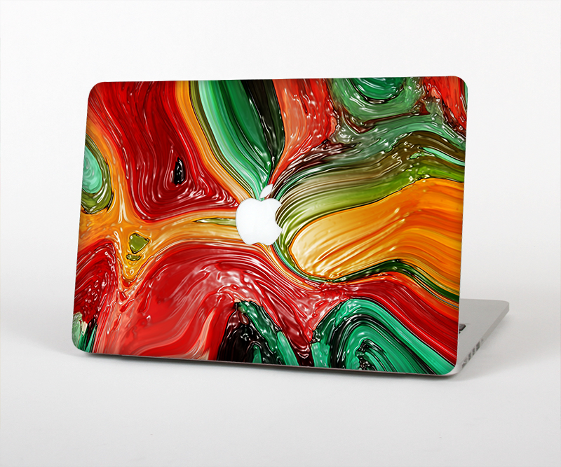 The Mixed Orange & Green Paint Skin Set for the Apple MacBook Pro 15