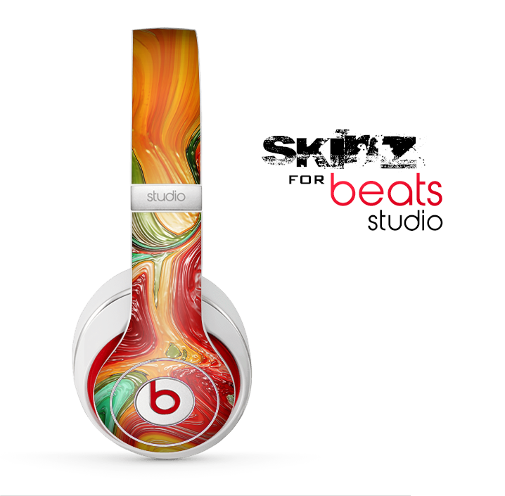 The Mixed Orange & Green Paint Skin for the Beats Studio for the Beats Skin