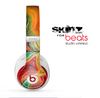 The Mixed Orange & Green Paint Skin for the Beats by Dre Studio Wireless Headphones