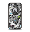 The Modern Black & White Abstract Tiled Design with Blue Accents Apple iPhone 6 Otterbox Defender Case Skin Set