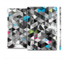 The Modern Black & White Abstract Tiled Design with Blue Accents Skin Set for the Apple iPad Mini 4