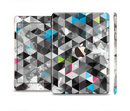 The Modern Black & White Abstract Tiled Design with Blue Accents Full Body Skin Set for the Apple iPad Mini 3